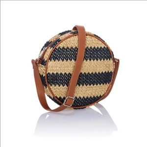 Thirty One Jewell Round About Straw Crossbody Bag